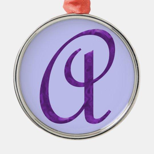 A Initial - Dark Purple Spiffy Metal Ornament
