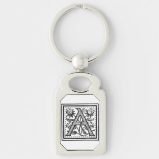 A Initial from A Monk of Fife Silver-Colored Rectangular Metal Keychain