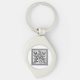 A Initial from A Monk of Fife Silver-Colored Swirl Metal Keychain