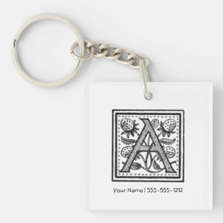 A Initial from A Monk of Fife Single-Sided Square Acrylic Keychain