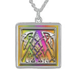 "A Initial Monogram ""Celtic Rainbow"" Necklace Custom Necklace"