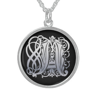 "A Initial Monogram ""Silver Lace on Black"" Necklace"