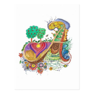 A, initial, monogram, wedding postcard