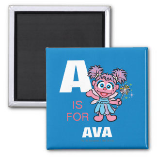 A is for Abby 2 Inch Square Magnet