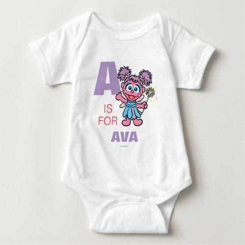 A is for Abby Cadabby  Add Your Name Baby Bodysuit