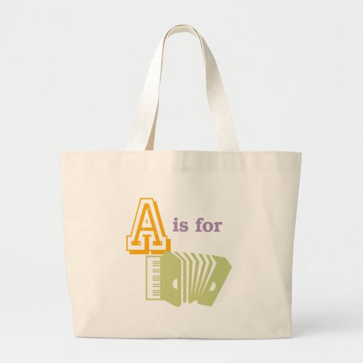 A is for Accordion Large Tote Bag