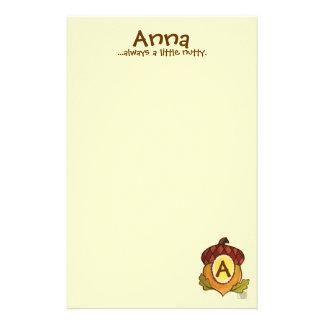 A is for Acorn Personalized Stationary Stationery Paper