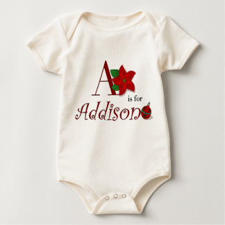 A is for Addison, Baby's First Christmas Baby Bodysuits
