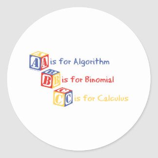 A is for Algorithm Classic Round Sticker