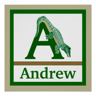 A is for Alligator and Boy Name Wall Art for Kids