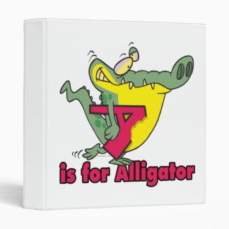 A is for Alligator silly gator letter cartoon 3 Ring Binders