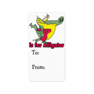 A is for Alligator silly gator letter cartoon Label