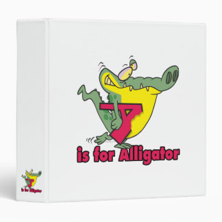 A is for Alligator silly gator letter cartoon Vinyl Binders