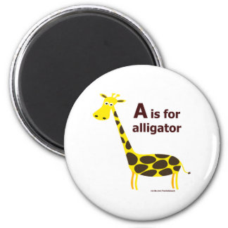A IS FOR ALLIGATOR T-SHIRTS AND GIFTS 2 INCH ROUND MAGNET