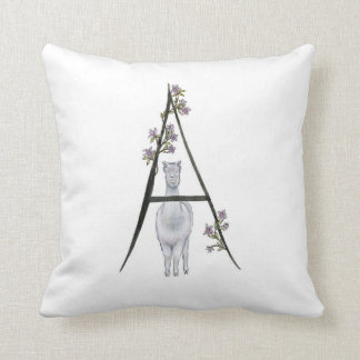 A is for Alpaca & Azaleas Pillow! Throw Pillow