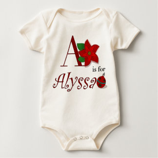 A is for Alyssa, Baby's First Christmas T-shirt