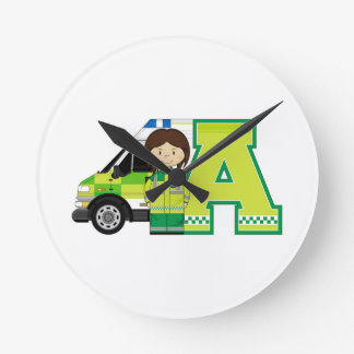 A is for Ambulance Round Wallclocks