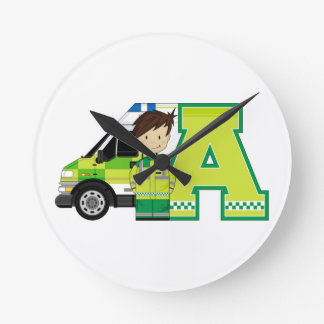 A is for Ambulance Round Wallclock