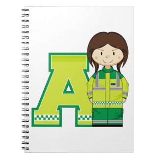 A is for Ambulance Woman Spiral Notebook