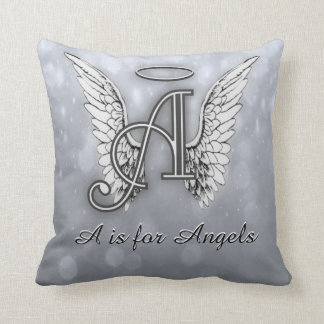 A is for Angels Silver Throw Pillow