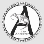A is for Anteater Round Sticker