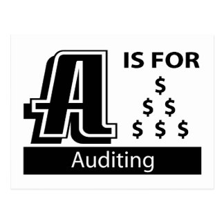 A Is For Auditing Postcard