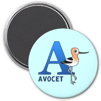 A is for Avocet 3 Inch Round Magnet
