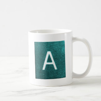A is for..... in blue/green coffee mugs