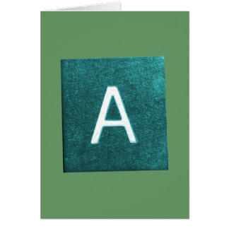 A is for..... in blue/green greeting card