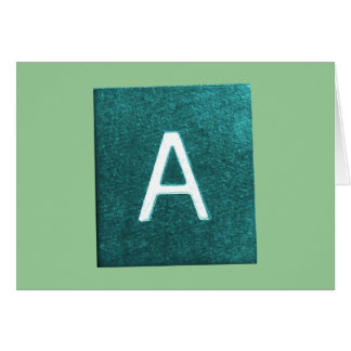 A is for..... in blue/green greeting cards