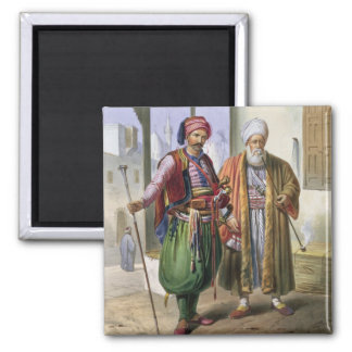 A Janissary and a Merchant in Cairo illustration Refrigerator Magnet