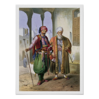 A Janissary and a Merchant in Cairo, illustration Poster