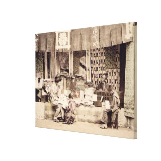A Japanese cloth store, c.1890 (hand coloured phot Canvas Print