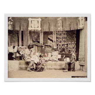 A Japanese cloth store, c.1890 (hand coloured phot Poster
