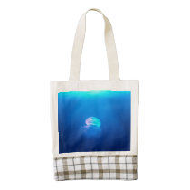 A Jellyfish Zazzle HEART Tote Bag