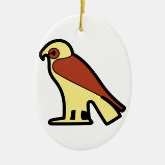 A jeroglífica egipcia adorno navideño ovalado de cerámica