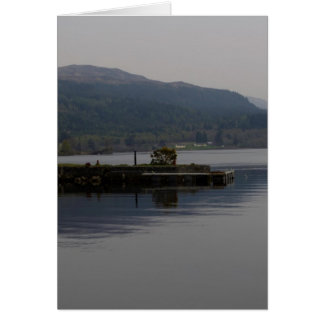 A jetty pushing out into the waters of Loch Ness Greeting Card