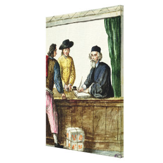 A Jewish Shopkeeper With Two Clients Canvas Print