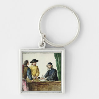 A Jewish Shopkeeper With Two Clients Keychain