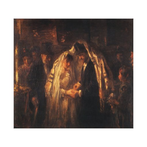A Jewish Wedding by Jozef Israels - Circa 1903 Gallery Wrapped Canvas