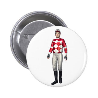 A Jockey in Red and White Button