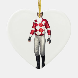 A Jockey in Red and White Ceramic Ornament