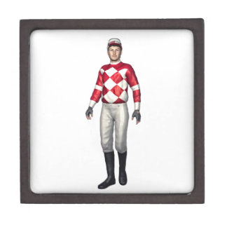 A Jockey in Red and White Jewelry Box