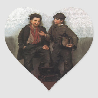 A Joint Investment ~ Shoe Shine Boys Share A Smoke Heart Sticker