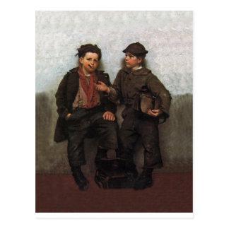 A Joint Investment ~ Shoe Shine Boys Share A Smoke Postcard