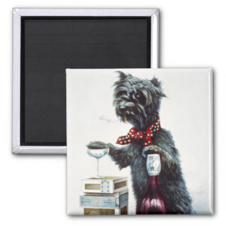 A jolly dog 2 inch square magnet