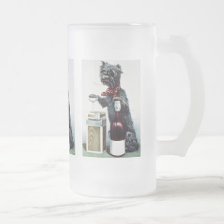 A jolly dog frosted glass beer mug