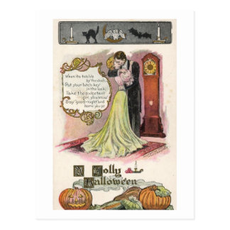 A Jolly Halloween, Couple Kissing Vintage Postcard