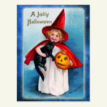 A Jolly Halloween from the Little Witch Postcard