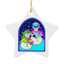 A Jolly Snow Couple - Star Ornament